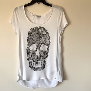 Guess LA Lace Skull Graphic Print/Keyhole Back